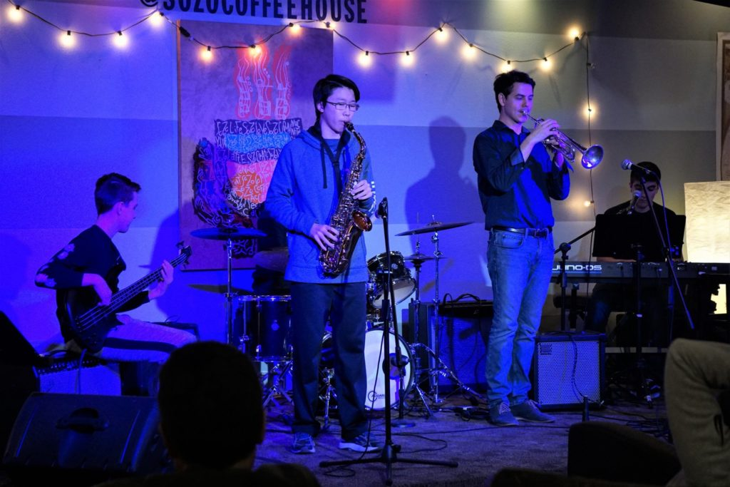 Saxophone Students playing in Jazz Ensemble