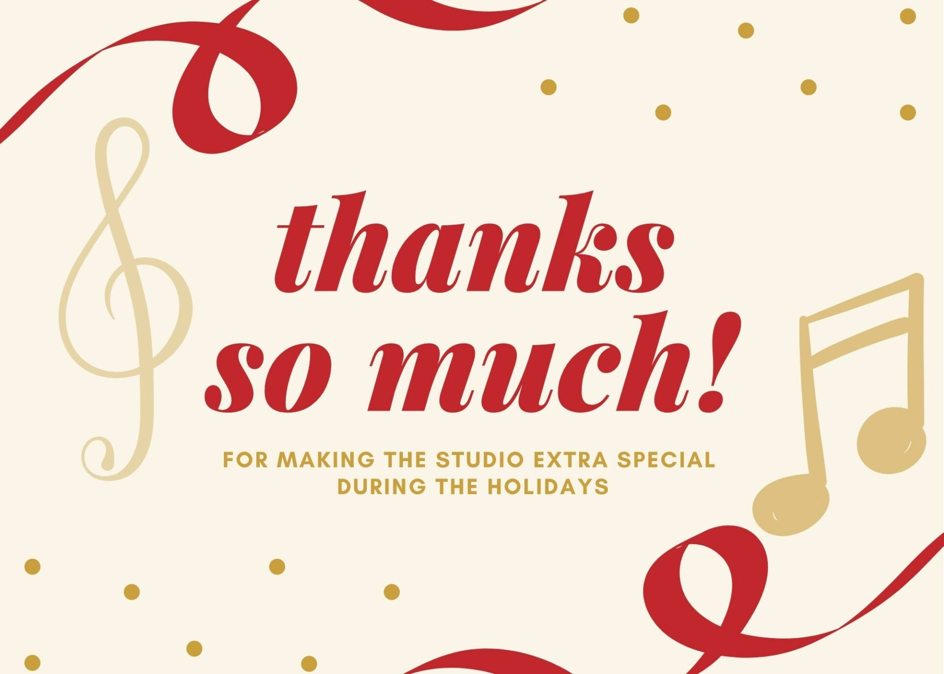 for making the Studio extra special During the HOlidays